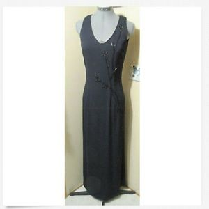 RIMINI Beaded Long Formal Dress 6 Navy Blue pencil